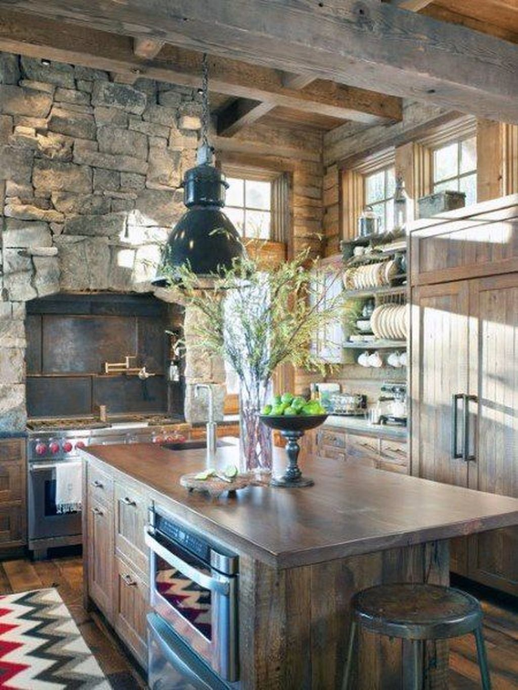 40 Warm Cozy Rustic Kitchen Designs For Your Cabin Kitchen Design Kitchen Interior Rustic Kitchen Decor