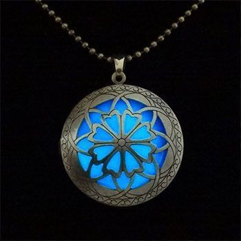 Glow In Dark Flower Locket Necklace