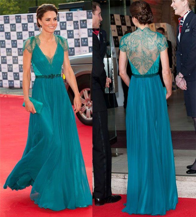Kate middleton vestido largo verde