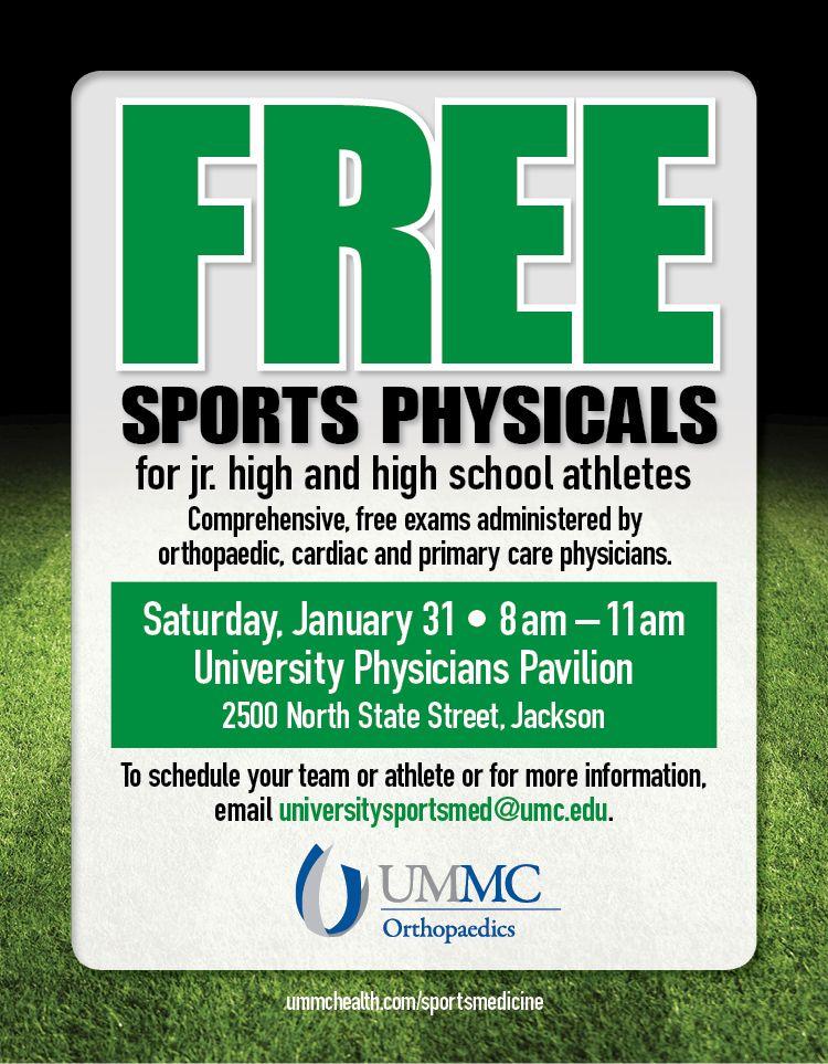 UMMC Sports Medicine free sports physicals flyer. http