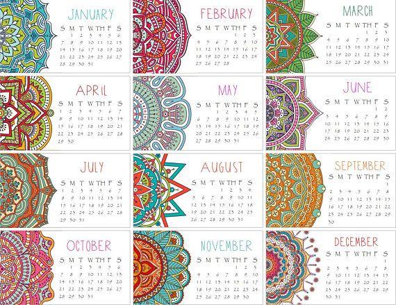 Mini Calendario.Calendario 2018 Conjunto De Dos Mandala Mini Calendario