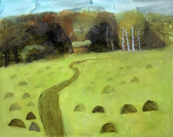 Elaine Pamphilon Mixed Media on canvas Nature reserve fulbourn