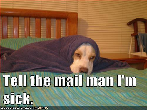 Tell the mailman I'm sick.