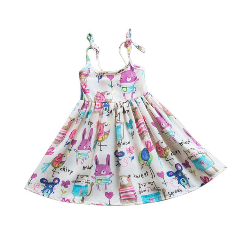 4b70adf43 Summer Baby Girl Dress Vest Sling Cartoon Printed Sleeveless Summer ...