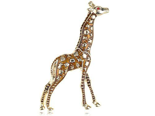 ARTY BLING GIRAFFE BROOCH: Vintage Repro Design Golden Tone Safari Giraffe Animal Fashion Jewel Pin Brooch: Jewelry