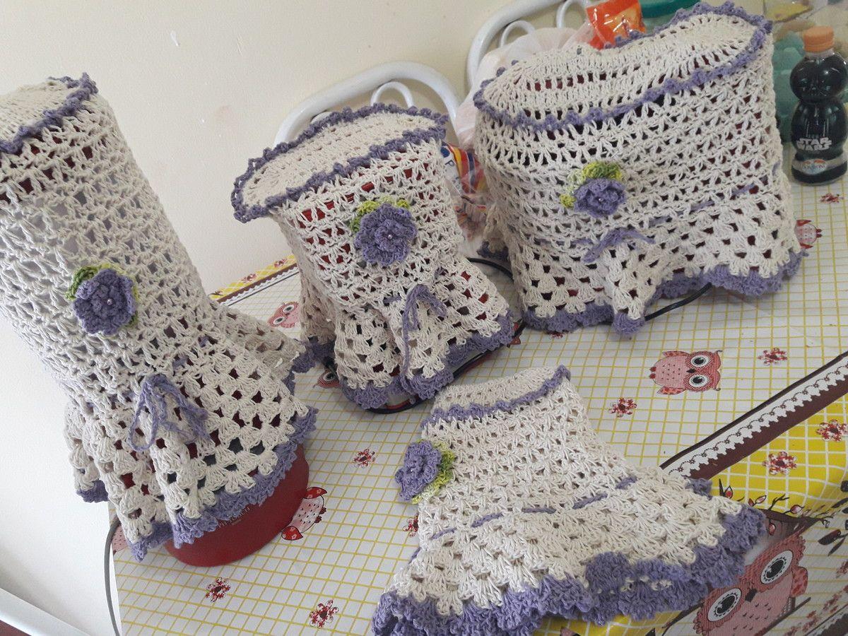 Jogo De Cozinha Com Capas Em Croche Artesanal Modelo Simple Com  ~ Como Fazer Conjunto De Cozinha