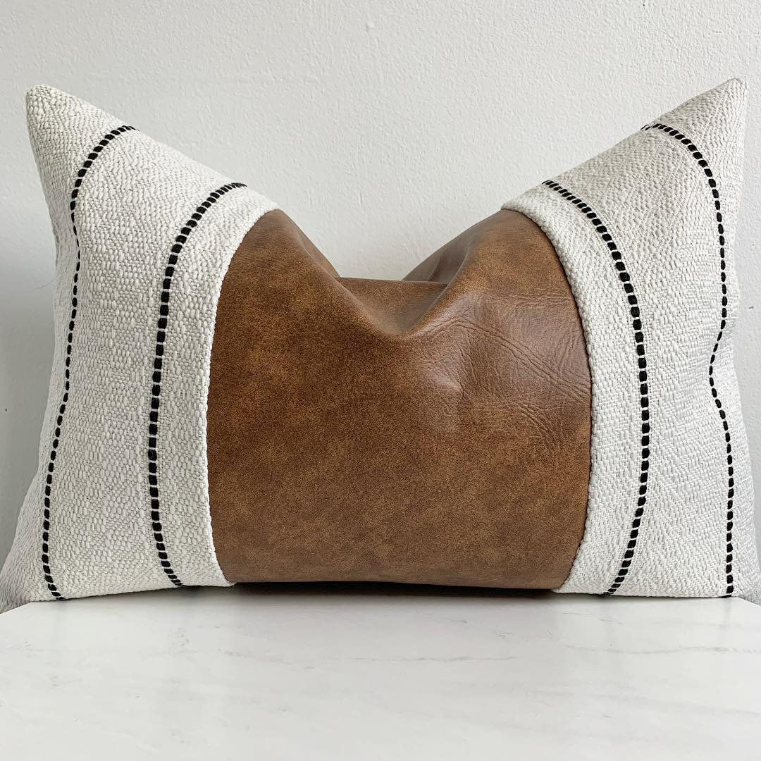 Excited to share this item from my #etsy shop: Aubrie - Gorgeous eclectic boho inspired black + white striped faux leather center lumbar pillow 14x20