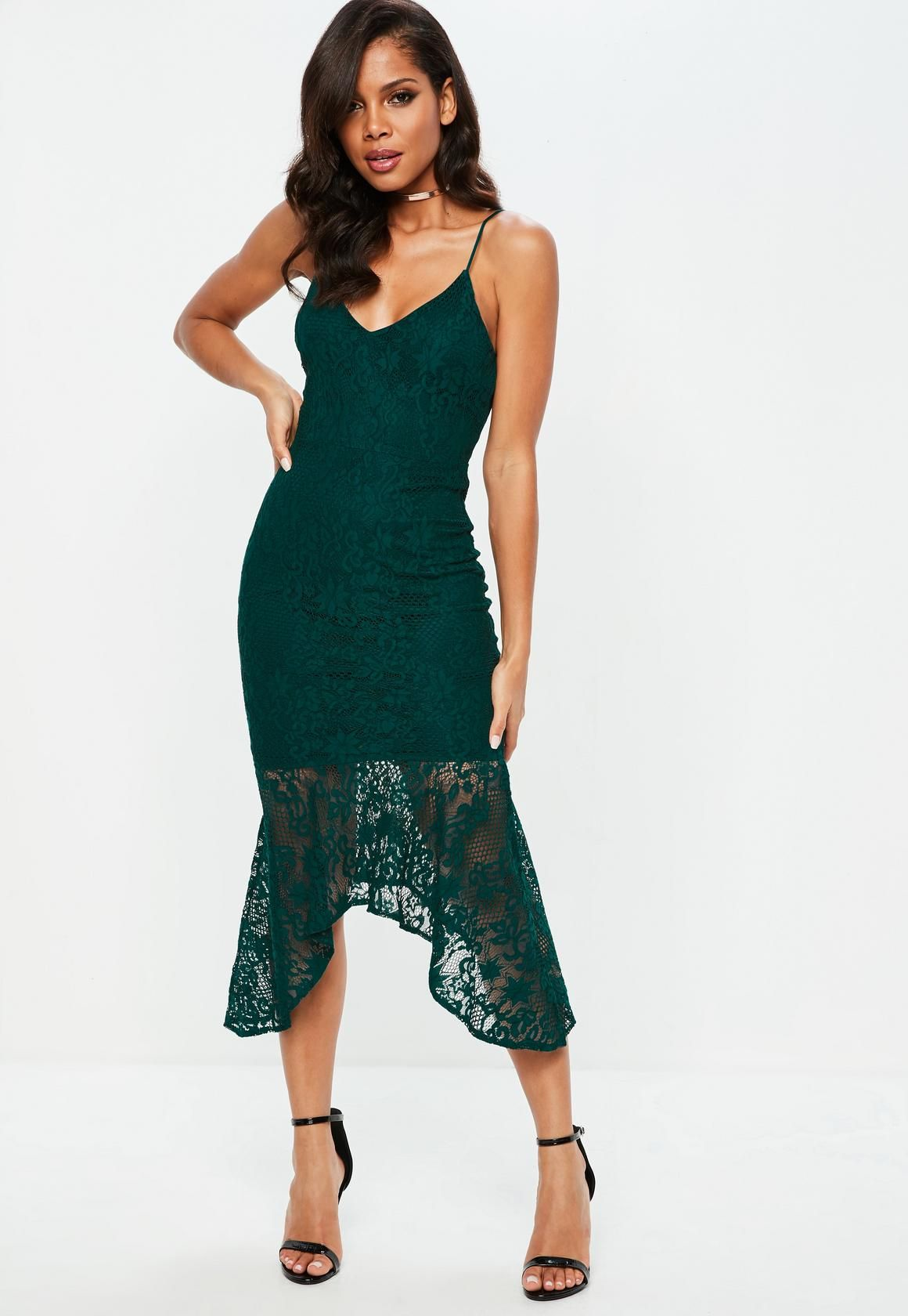 Missguided Teal Strappy Plunge Lace Fishtail Midi Dress