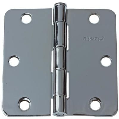 Gliderite 3 1 2 In Polished Chrome Steel Door Hinges 1 4 In Corner Radius With Screws 24 Pack Door Hinges Polished Chrome Hardware