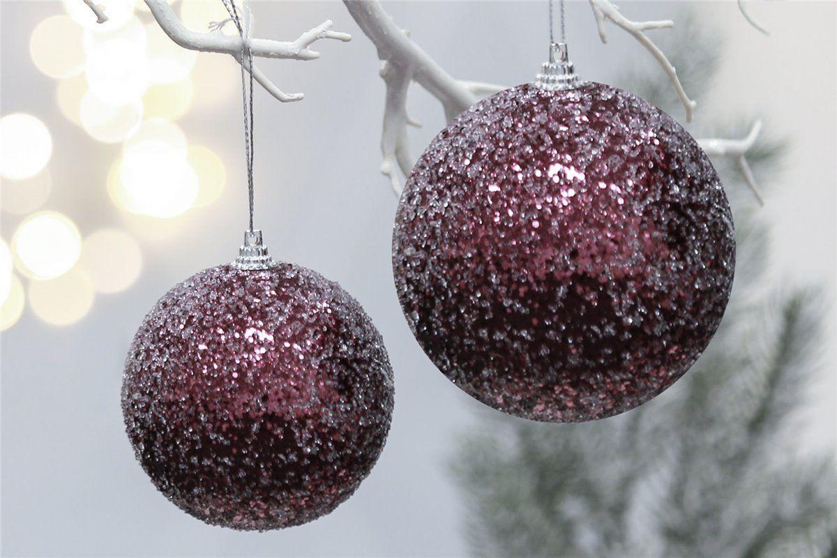 Weihnachtsbaumkugeln 4er Set Frosted beere Ø 8 cm