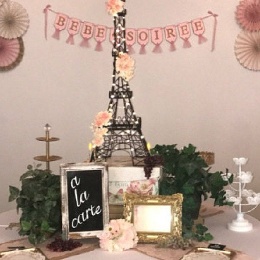 Bebe Soiree Banner Pink And Gold Baby Shower Decoration Paris Baby