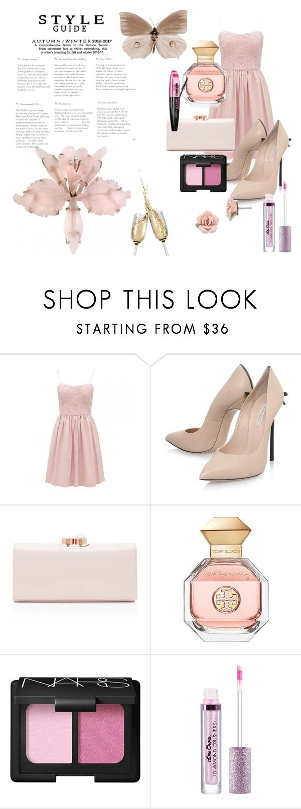 """""""For Pink Contest"""" by cupcakelover635 on Polyvore featuring Casadei, Ted Baker, Tory Burch, NARS Cosmetics, L'Oréal Paris, Lime Crime and 1928"""