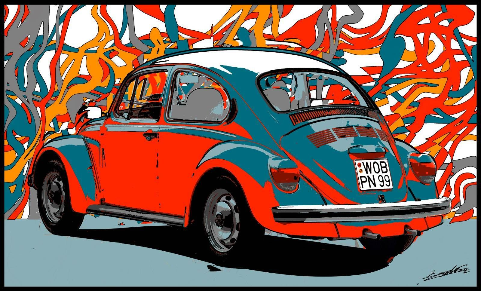tableau voiture ancienne collection vw coccinelle rouge peinture moderne pop art design artiste. Black Bedroom Furniture Sets. Home Design Ideas