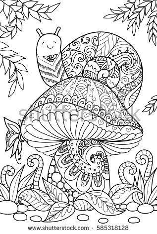 Snail sitting on beautiful mushroom for TShirt design