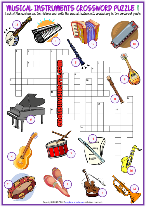 Musical Instruments Crossword Puzzle Esl Worksheets Music Vocabulary Music Worksheets Teaching Music