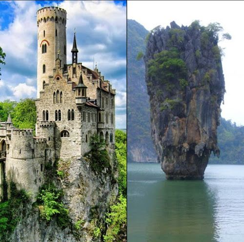 "the secret of ""amazing Beach rock house from Ireland"" : Lichtenstein Castle in Baden-Württemberg, Germany. & ""James Bond Island"" in Khao Phing Kan, Thailand.  made in Photoshop"
