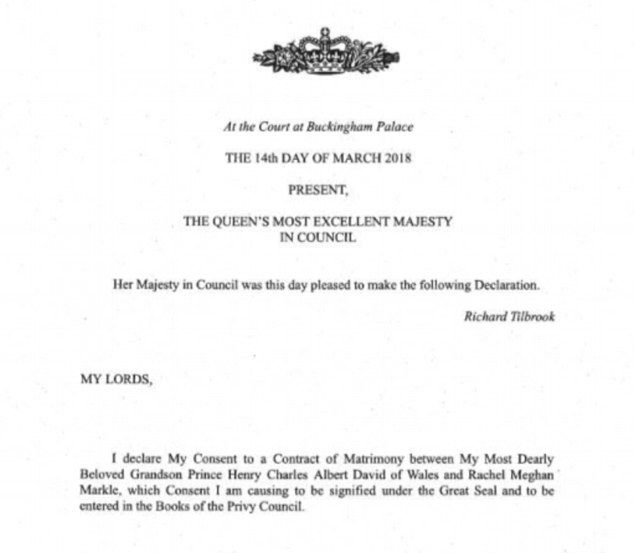 The Queen Formally Gives Consent To Prince Harry And