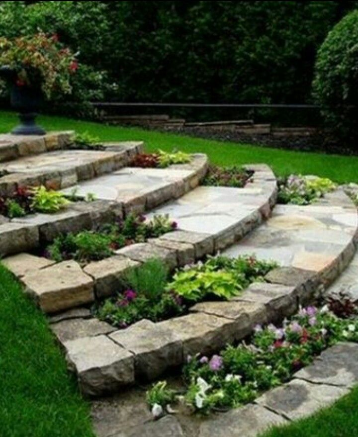 Landscaping Ideas For Sloped Front Yard: Jardins, Jardin En Pente, Escalier