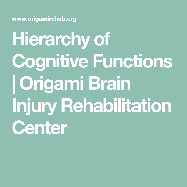 Hierarchy Of Cognitive Functions Origami Brain Injury