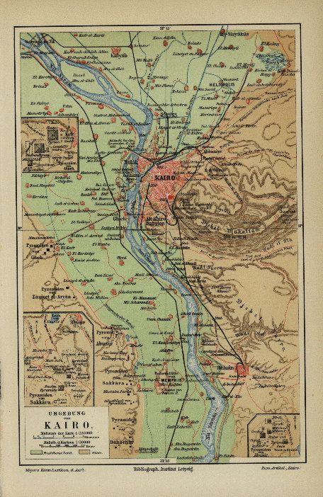 Antique Original Map Print Of Kairo Cairo Egypt By Rarepostcards