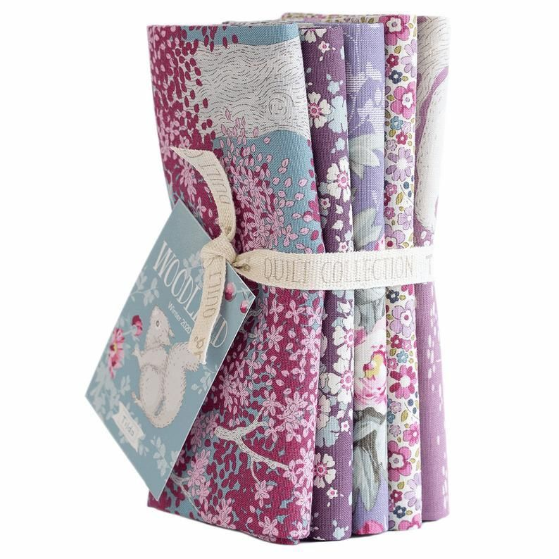 Photo of Fabric, 5 Fat 1/4s bundle from Tilda, Woodland Collection 300089, Color: Lilac/Lavender – fat 1/4yd (20X 22) x 5 pieces