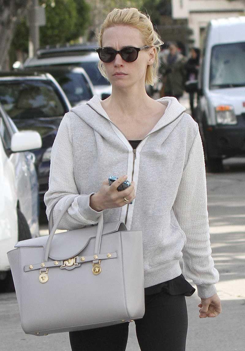 a13032dc9f January Jones with her Versace Signature Bag