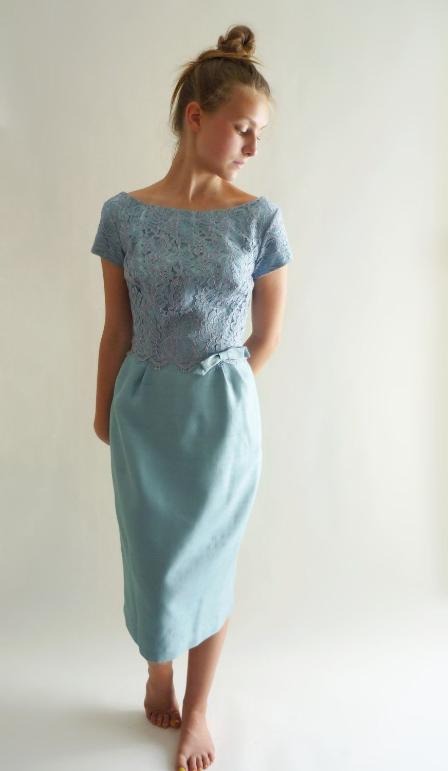 S cocktail dress blue dupioni silk cocktail dress with lace