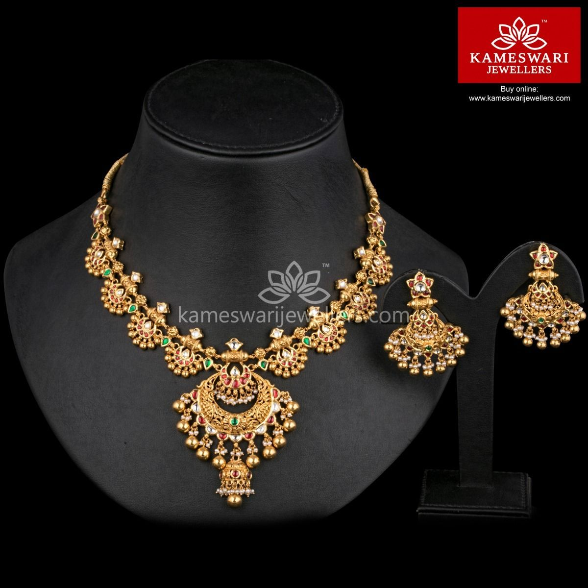 Kundan classic set indian jewelry jewel and necklace online