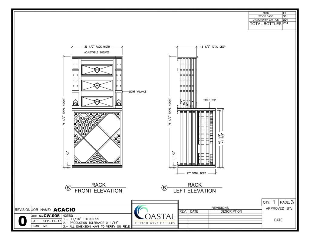 Diamond Bin Wood Wine Racks Design Drawing. This shows the drawers ...