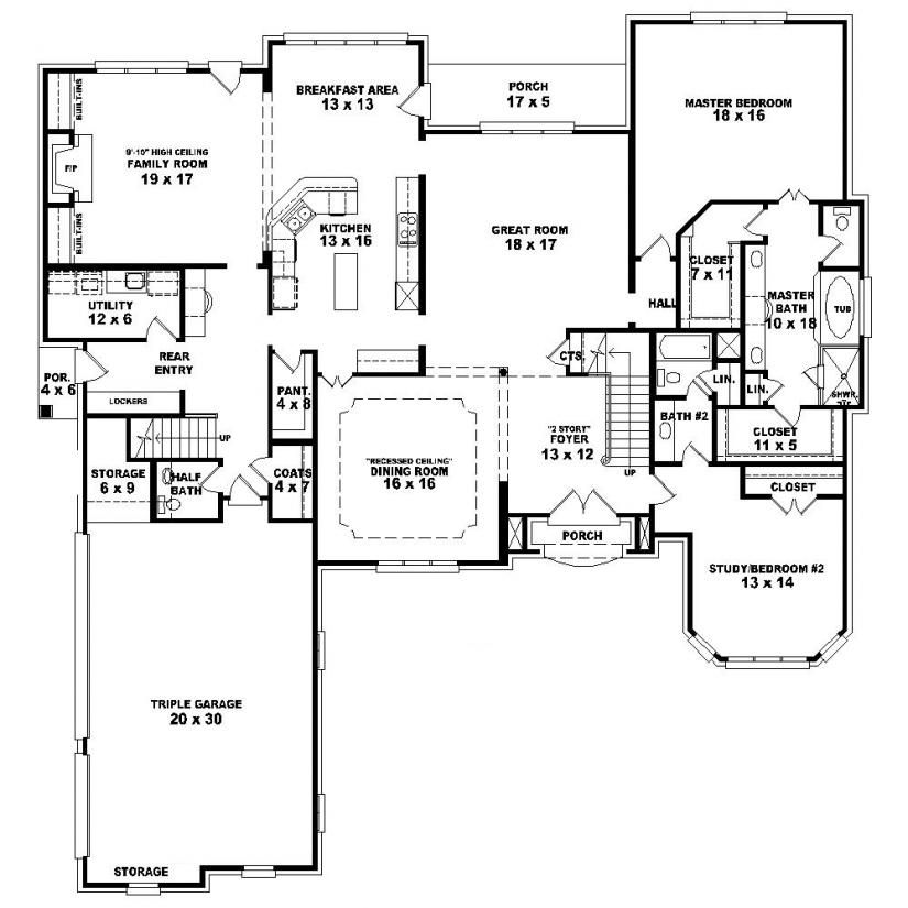 653924 1 5 story 4 bedroom 4 5 bath french country for One story french country house plans