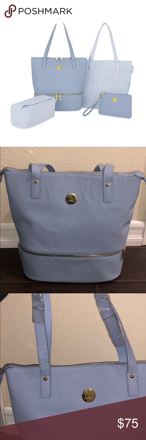 f45d91f05a7 Brand new light blue tote bag JOY Smart   Chic Leather Handbag Set with  Secret Section and More 100% leather bag Comes with as pictured Little bag  included ...