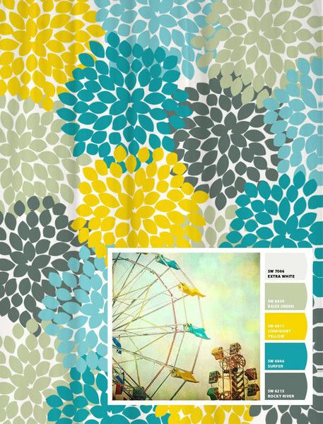 Shower Curtain Vintage Ferris Wheel Inspired Floral 70 X 78 Blue Grey Yellow In Guest Bath