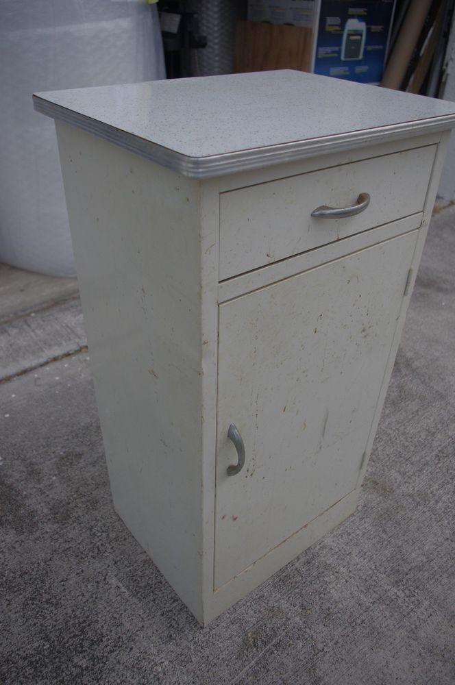 Vintage Metal Kitchen Cabinet Counter | Refinishing ...