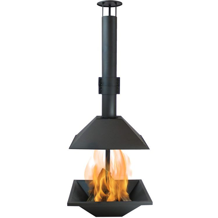 Sunnydaze Black Steel Outdoor Wood Burning Modern Backyard Chiminea Fire Pit In 2020