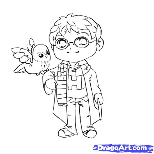how to draw chibi harry potter step 7 | Harry potter ...
