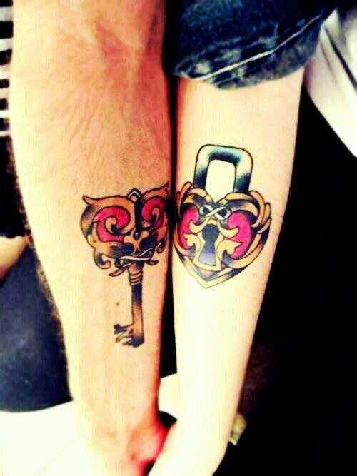 fa4a278f7 Lock n Key couple tattoo | hello kitty | Cute couple tattoos, Couple ...