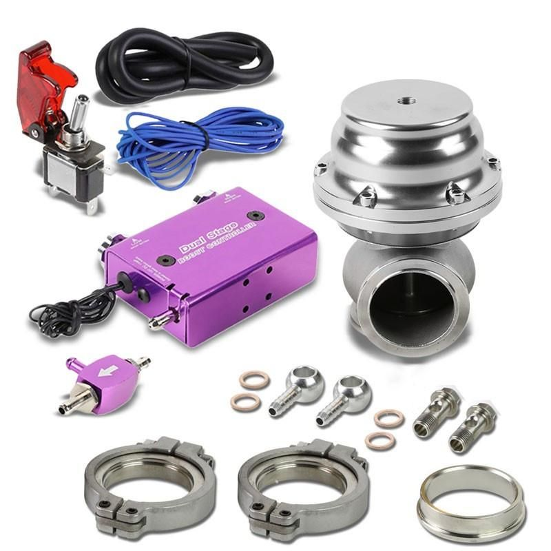 Purple Dual Stage Electronic Adjustable Pressure 1-30 PSI Turbo Charger Boost Control+Silver 44mm 14 PSI V-Band Clamp-On Turbo Boost Wastegate Kit