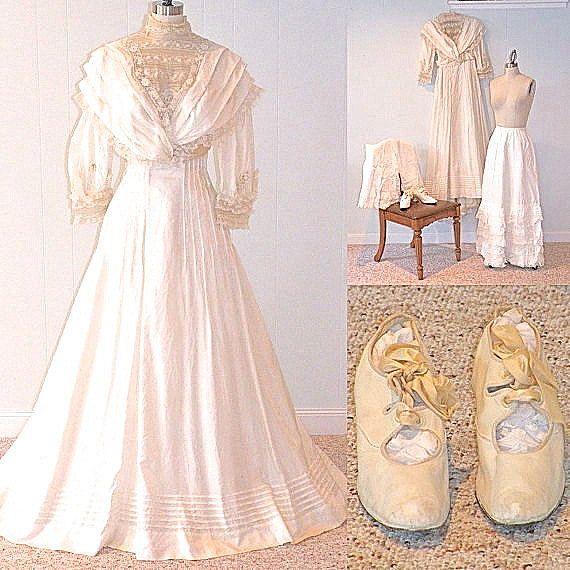 Edwardian Wedding Dress Trousseau, Antique Silk And Lace