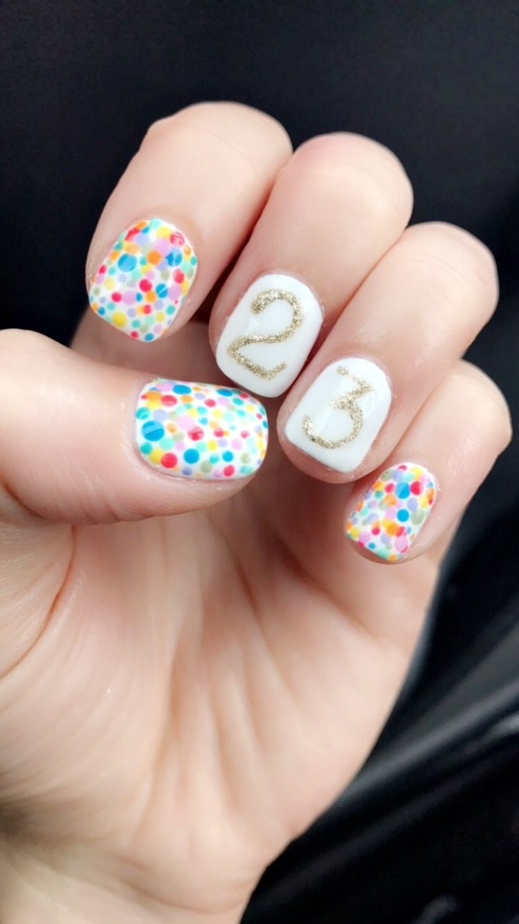 Birthday Nails Confetti Nailart Birthdaynails With Images