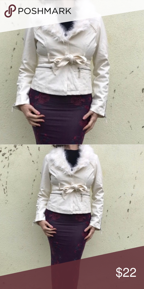 Faux fur Leather jacket belted pleather White tie F21 faux