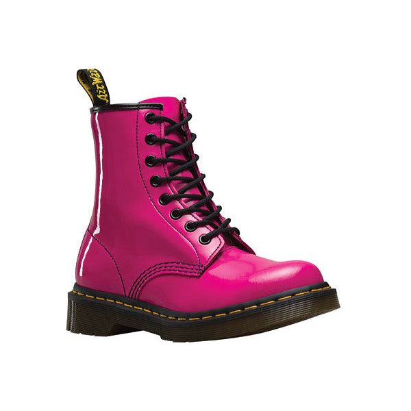Women S Dr Martens 1460 8 Eye Boot Patent Hot Pink Patent Lamper 125 Liked On Polyvore Featur Leather Combat Boots Women Leather Lace Up Boots Boots