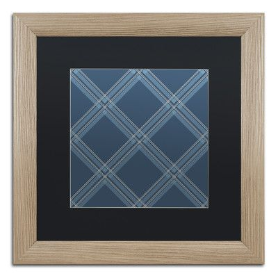 "Trademark Art 'Med Blue Diamond' by Jennifer Nilsson Framed Graphic Art Size: 16"" H x 16"" W x 0.5"" D"