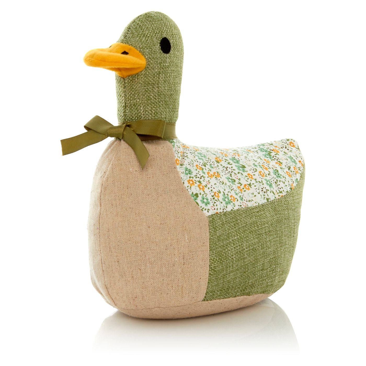 Green Fabric Duck Doorstop
