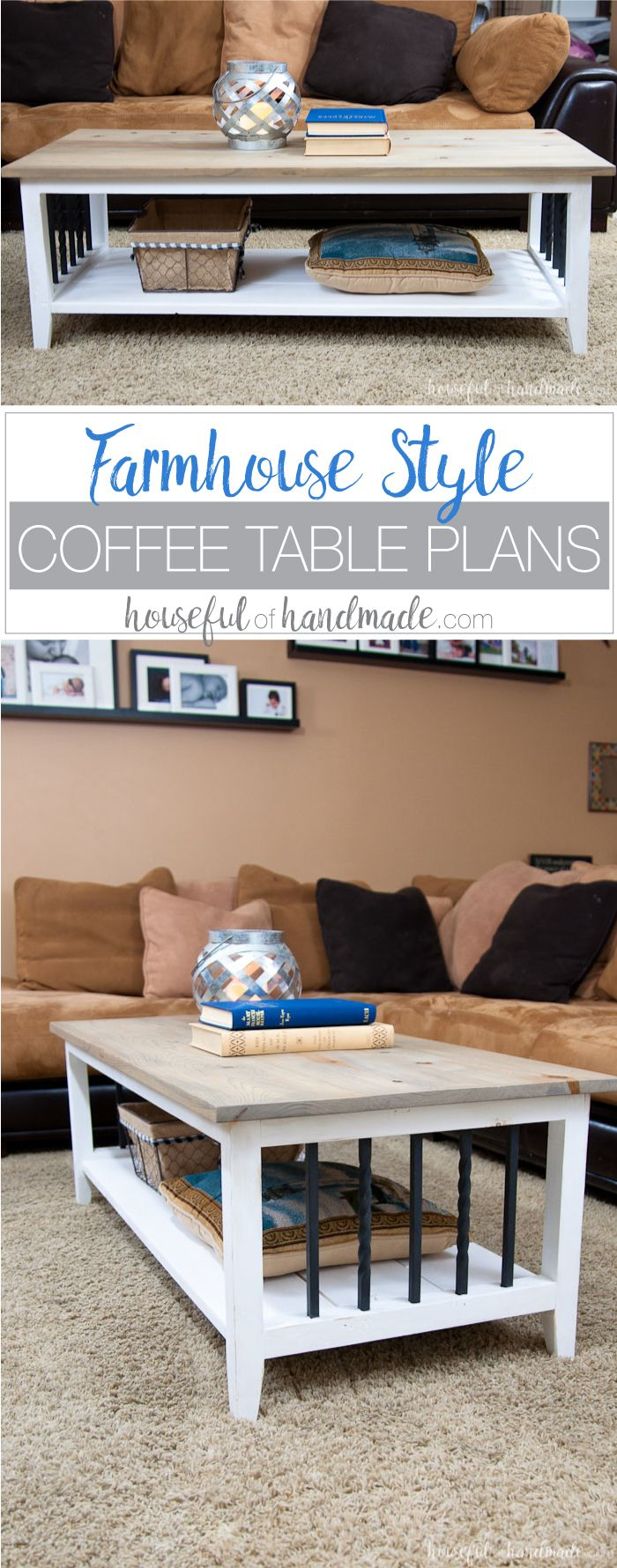 Farmhouse Coffee Table Build Plans is part of Upcycled Crafts Awesome Coffee Tables - Create the perfect place to relax with this easy to build farmhouse coffee table  Get the free build plans for this rustic, openshelf coffee table today
