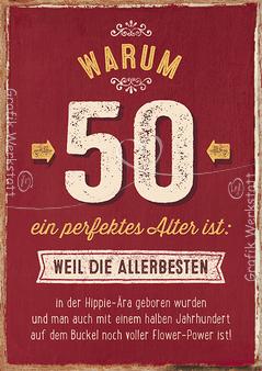 warum 50 ein perfektes alter ist: - doppelkarten - grafik, Einladungsentwurf