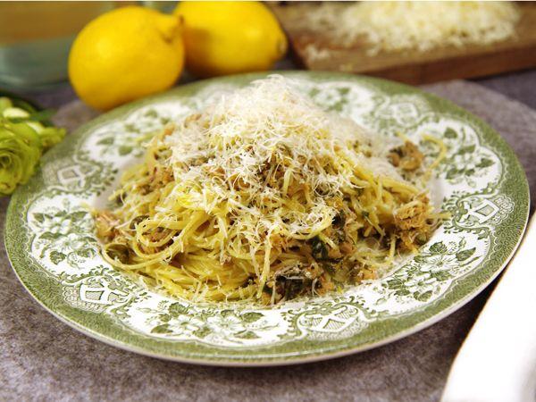Pasta Med Tonfisk Och Citron Recept Recept Pastarecept Och