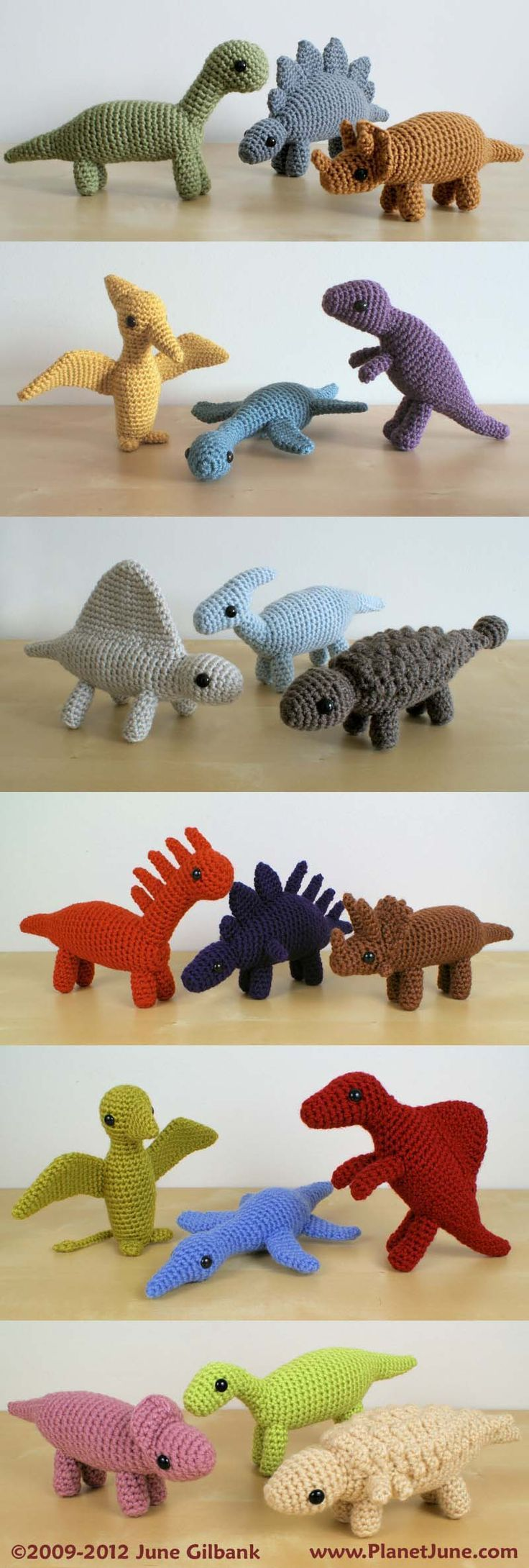 Colourful, chunky, and realistic – crochet 18 different species of dinosaur with these patterns: www.planetjune.com/dinosaurs