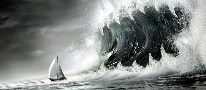 espaldear:  Verbo transitivo. Romper las olas con demasiado ímpetu contra la popa de la embarcación.