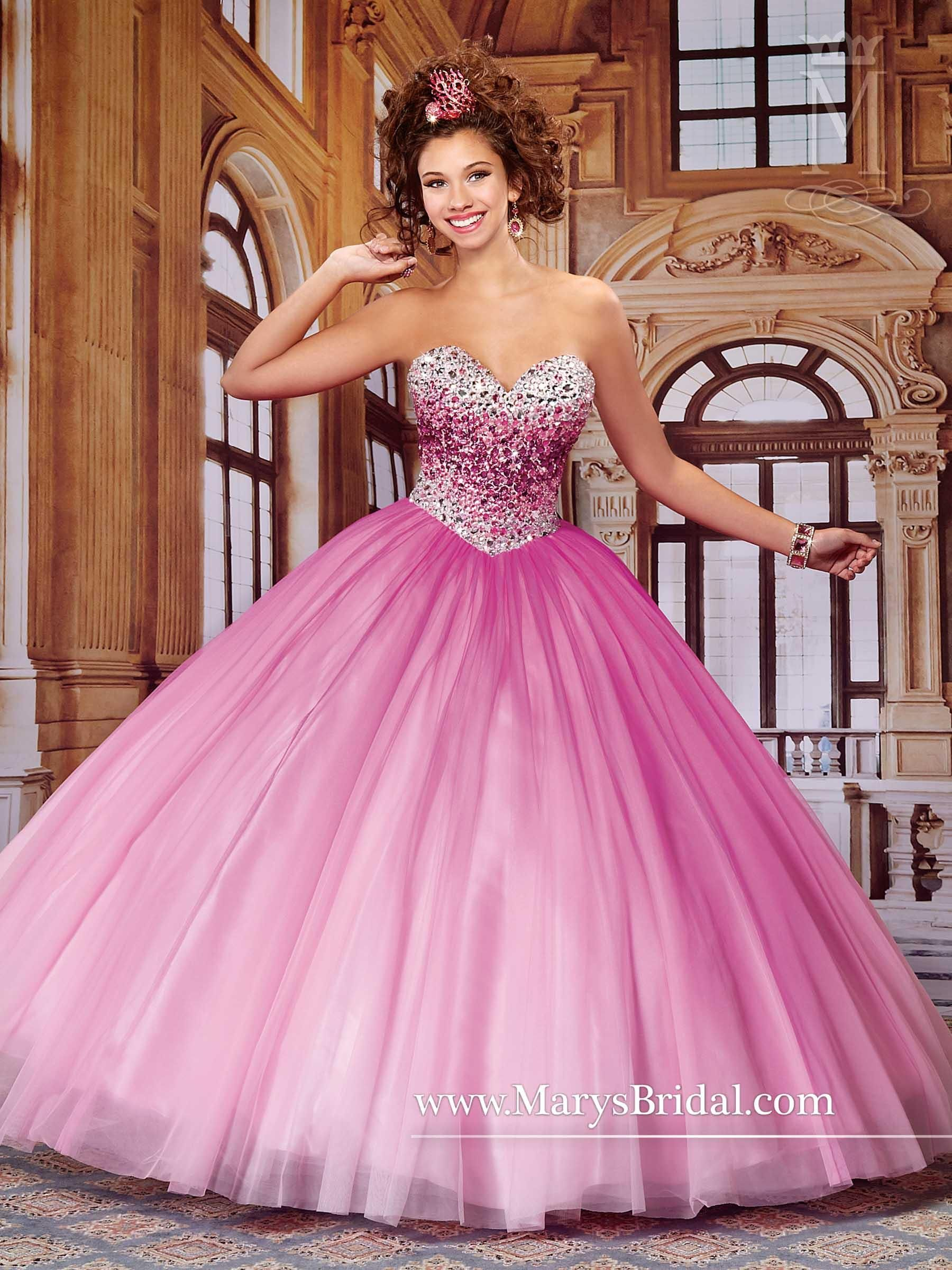 Mary\'s Ombre Quinceanera Dresses 2015 Fall Sweetheart Neck Beaded ...