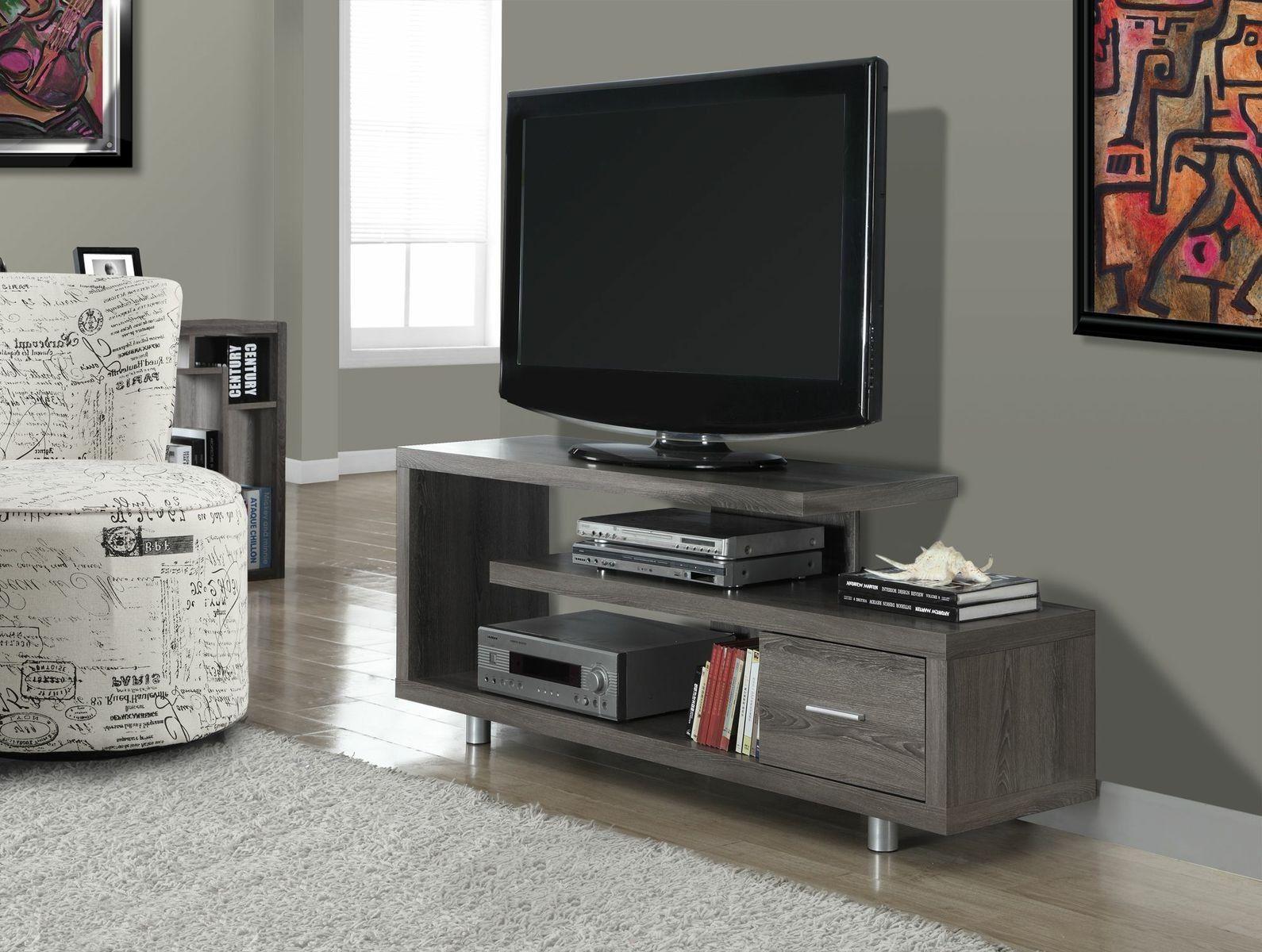 I 2574 Console Tv 60 L Style Vieux Bois Taupe Fonce R Nos  # Meuble Console Pour Tv
